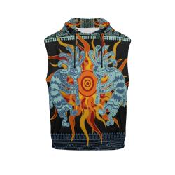 Native American Kokopelli Musicans - Sun Border 1 All Over Print Sleeveless Hoodie for Women (Model H15)
