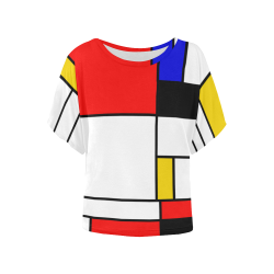 Bauhouse Composition Mondrian Style Women's Batwing-Sleeved Blouse T shirt (Model T44)