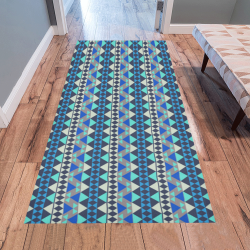 Mayan Pattern Blue Area Rug 7'x3'3''