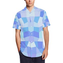 Bright Blues Mosaic Men's Short Sleeve Shirt with Lapel Collar (Model T54)