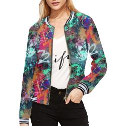 Graffiti Wall and Paint Splatter All Over Print Bomber Jacket for Women (Model H21)