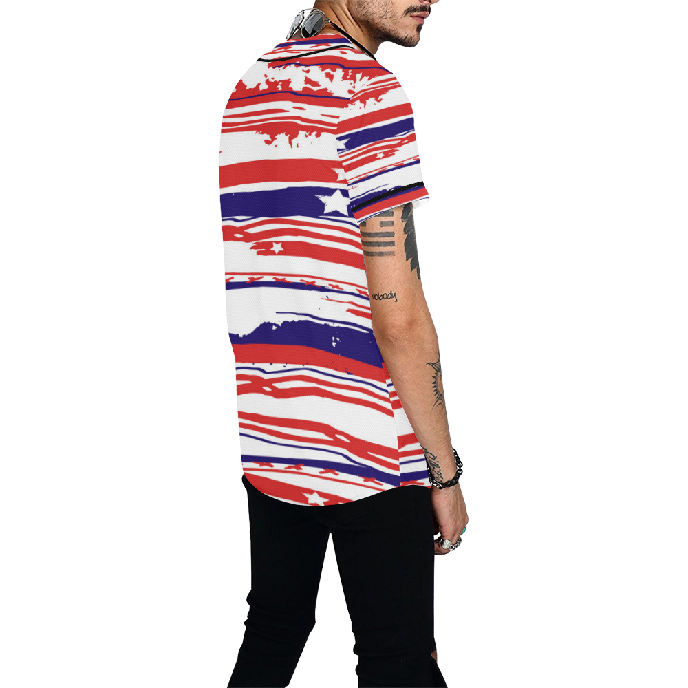 4th of July All Over Print Baseball Jersey for Men (Model T50)