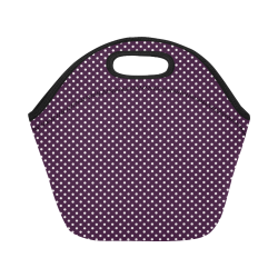 Burgundy polka dots Neoprene Lunch Bag/Small (Model 1669)