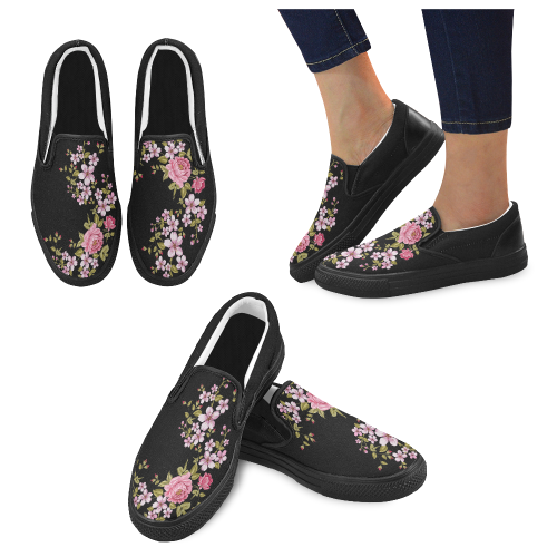 Pure Nature - Summer Of Pink Roses 1 Women's Unusual Slip-on Canvas Shoes (Model 019)