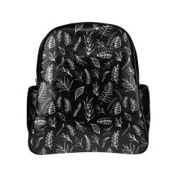 BLACK DANCING LEAVES Multi-Pockets Backpack (Model 1636)