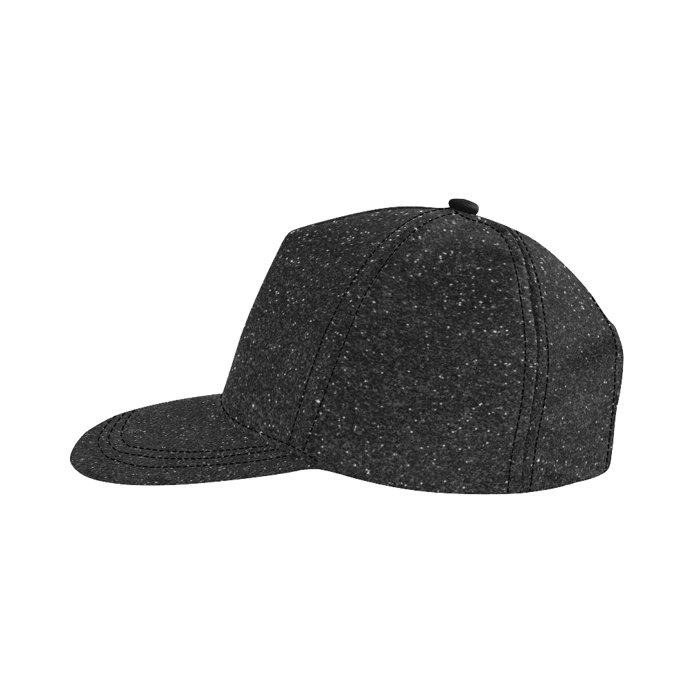 Black Sparkly Glitter All Over Print Snapback Hat D