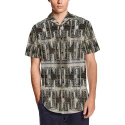 Trim Men's Short Sleeve Shirt with Lapel Collar (Model T54)