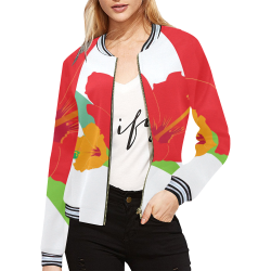 FLORAL DESIGN 35 All Over Print Bomber Jacket for Women (Model H21)