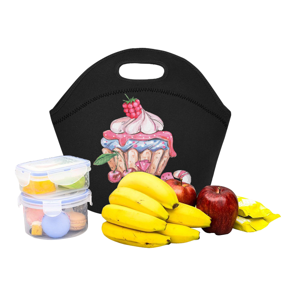 cupcake Neoprene Lunch Bag/Small (Model 1669)