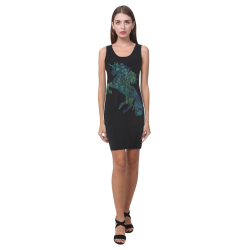 3D Psychedelic Unicorn blue and green Medea Vest Dress (Model D06)