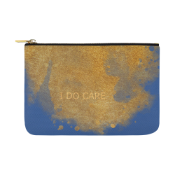 Mandy I do Care blue gold whale design Carry-All Pouch 12.5''x8.5''