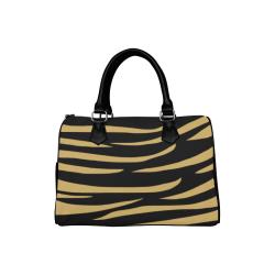 Tiger Stripes Black and Gold Boston Handbag (Model 1621)