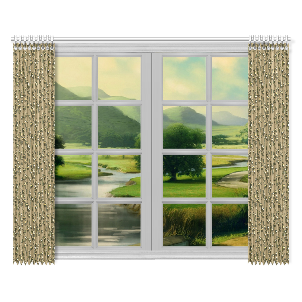 """golden drops Window Curtain 52""""x84""""(Two Pieces)"""