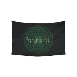 "GreenTara Mantra with Mandala Cotton Linen Wall Tapestry 60""x 40"""