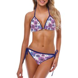 Spring Time Flowers 5 Blue Custom Bikini Swimsuit (Model S01)