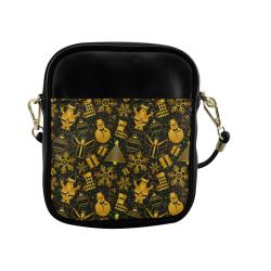 Golden Christmas Icons Sling Bag (Model 1627)