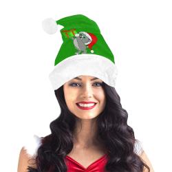 Christmas Kitten Green/White Santa Hat
