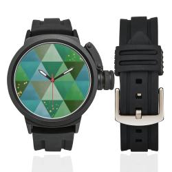 Triangle Pattern - Green Teal Khaki Moss Men's Sports Watch(Model 309)