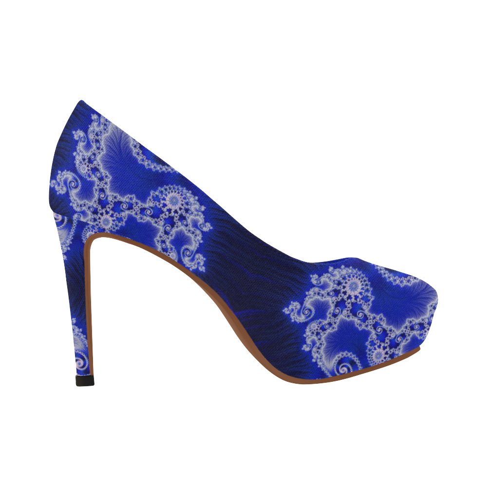 Blue and White Hearts  Lace Fractal Abstract Women's High Heels (Model 044)