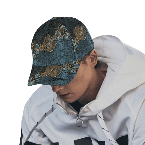 Beautidul vintage design in blue colors All Over Print Dad Cap C (6-Pieces Customization)