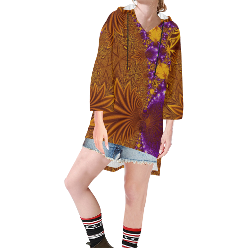 Sunset Jungle Leaves Step Hem Tunic Hoodie for Women (Model H25)