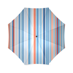 Blue and coral stripe 1 Foldable Umbrella (Model U01)