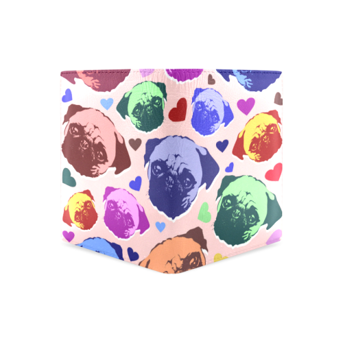 Pug Puppy Dog Love Hearts Men's Leather Wallet (Model 1612)
