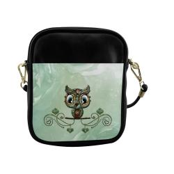 Cute little owl, diamonds Sling Bag (Model 1627)