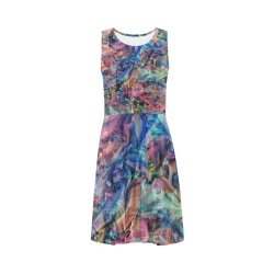 Unique Abstract Art - Wearable Art Sleeveless Ice Skater Dress (D19)