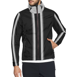 Race Car Stripes Black and Silver Unisex All Over Print Windbreaker (Model H23)