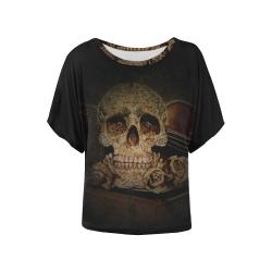 Steampunk Alchemist Mage Roses Celtic Skull halfto Women's Batwing-Sleeved Blouse T shirt (Model T44)