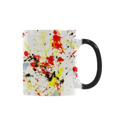 Black, Red, Yellow Paint Splatter Custom Morphing Mug (11oz)