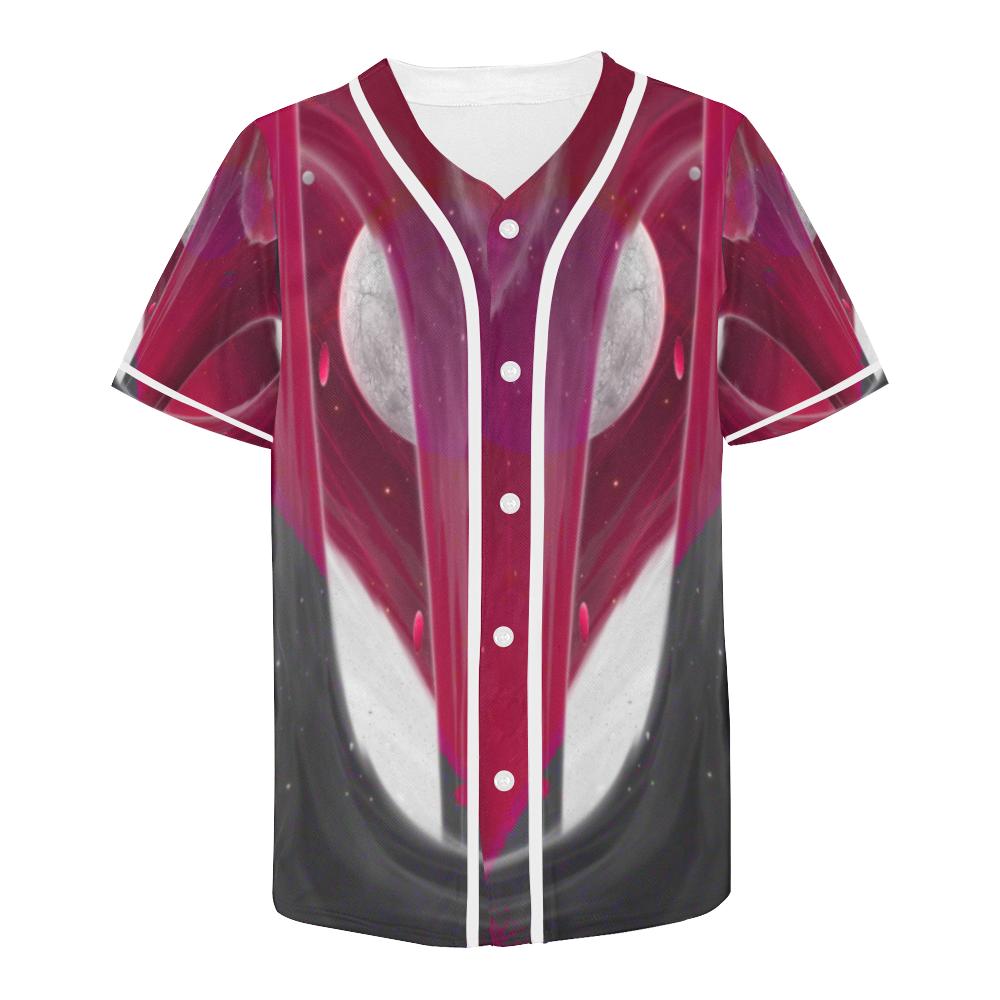 Maroon Moon Crew All Over Print Baseball Jersey for Men (Model T50)