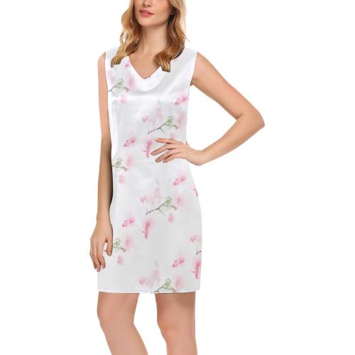 Pattern Orchidées Phoebe Sleeveless V-Neck Dress (Model D09)