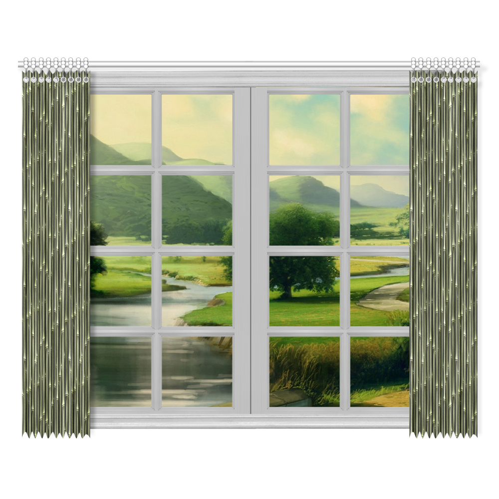 """Bamboo forest Window Curtain 52""""x84""""(Two Pieces)"""