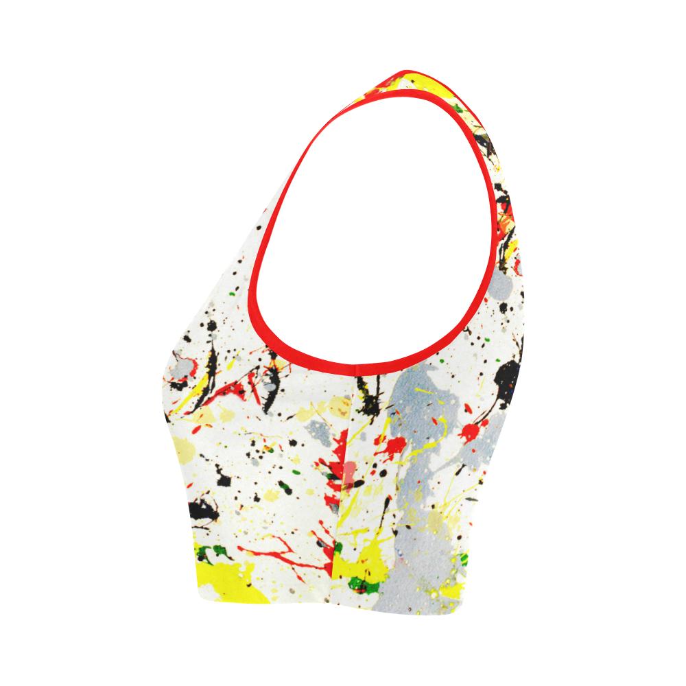 Yellow & Black Paint Splatter Women's Crop Top (Model T42)