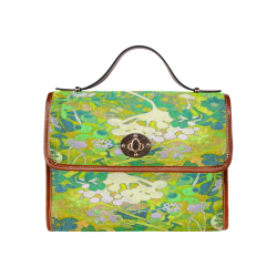 floral 1 abstract in green Waterproof Canvas Bag/All Over Print (Model 1641)