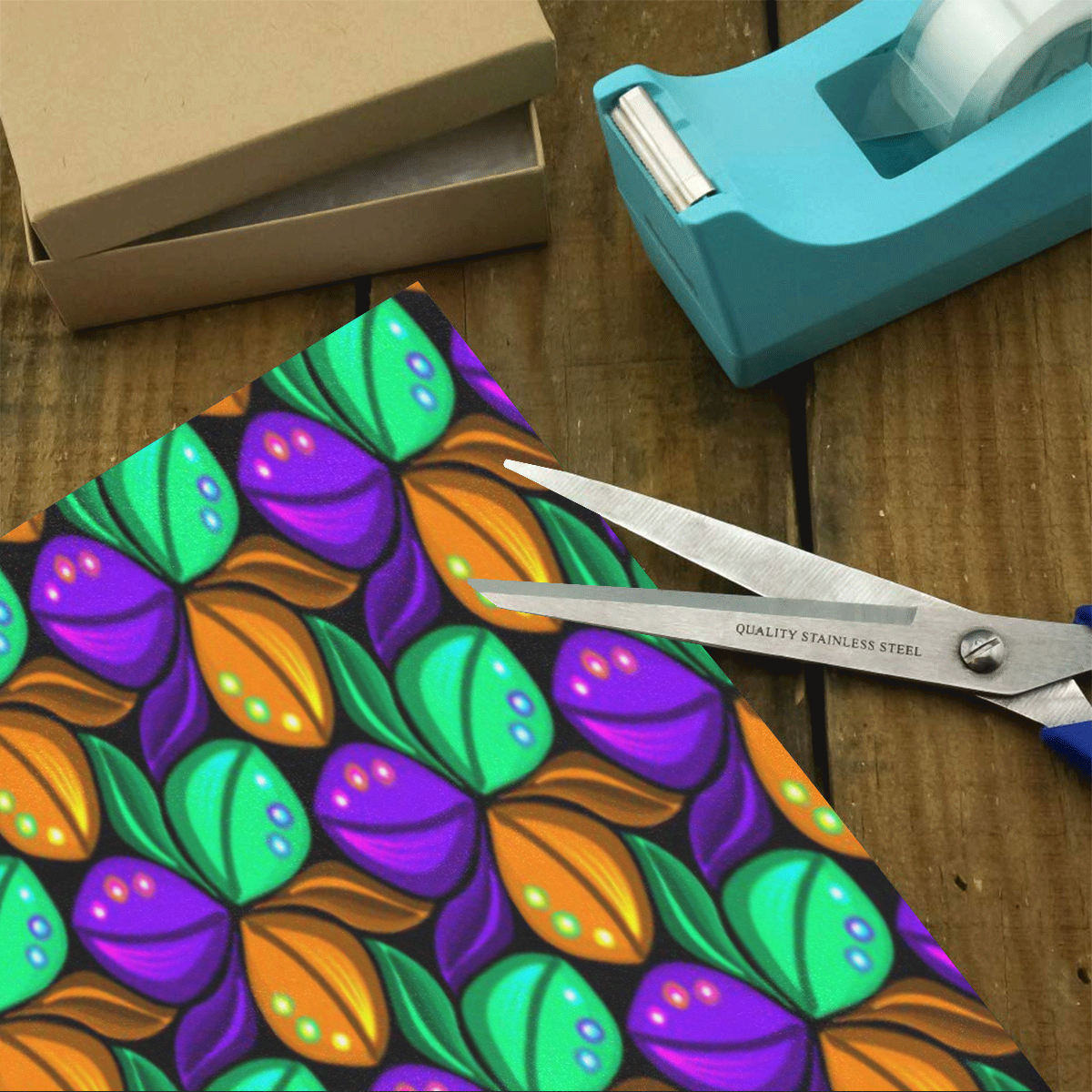 """Tricolor Floral Pattern Orange Green and Violet Gift Wrapping Paper 58""""x 23"""" (1 Roll)"""