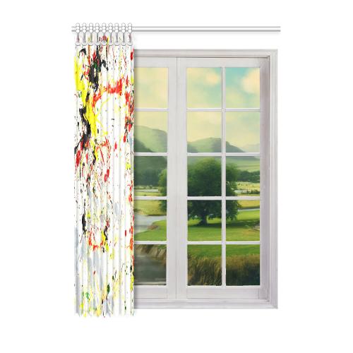 "Black, Red, Yellow Paint Splatter Window Curtain 52"" x 72""(One Piece)"