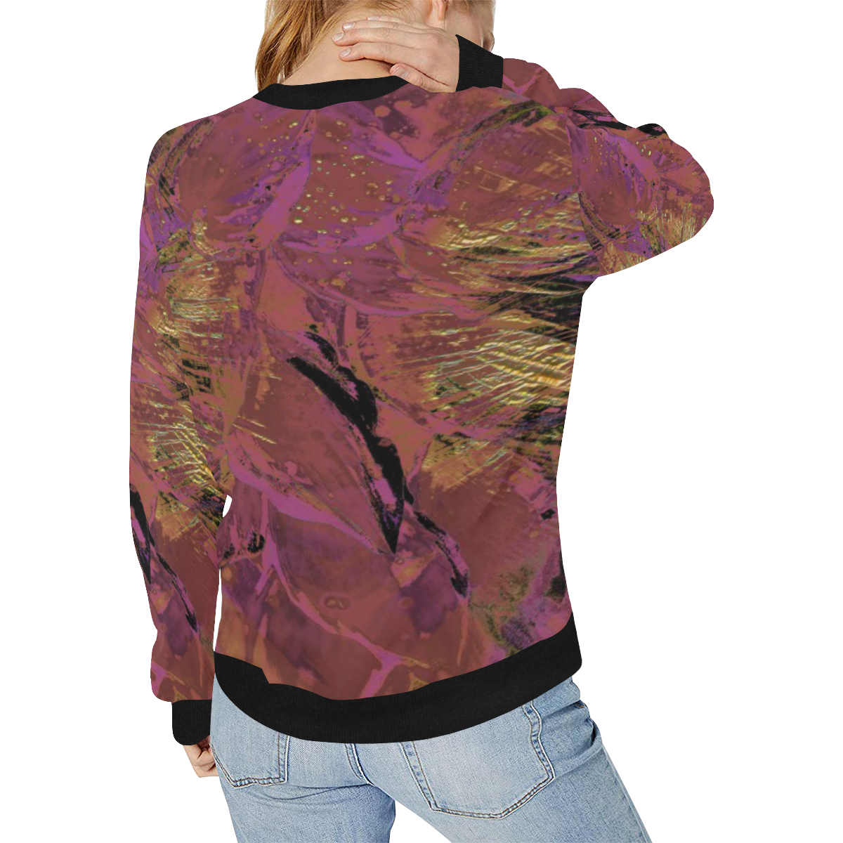 wheelVibe_8500 2 low Women's Rib Cuff Crew Neck Sweatshirt (Model H34)