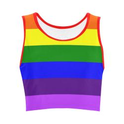 Rainbow Flag (Gay Pride - LGBTQIA+) Women's Crop Top (Model T42)