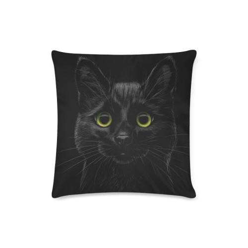 "Black Cat Custom Zippered Pillow Case 16""x16""(Twin Sides)"
