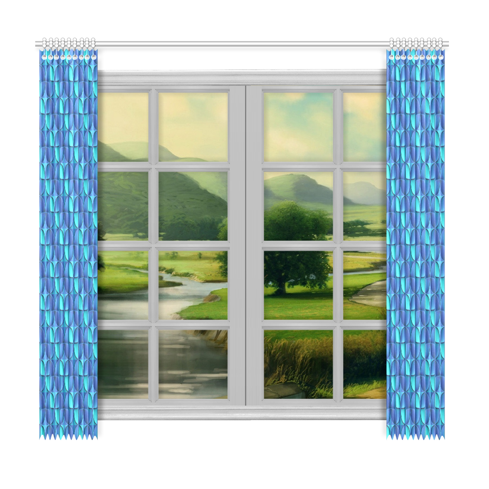 """Blue shades abstract Window Curtain 50""""x96""""(Two Piece)"""