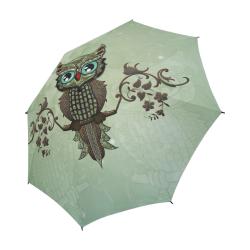 Wonderful owl, diamonds Semi-Automatic Foldable Umbrella (Model U05)