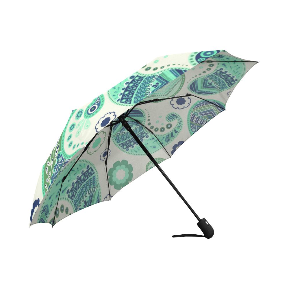 Seafoam Paisley Auto-Foldable Umbrella (Model U04)