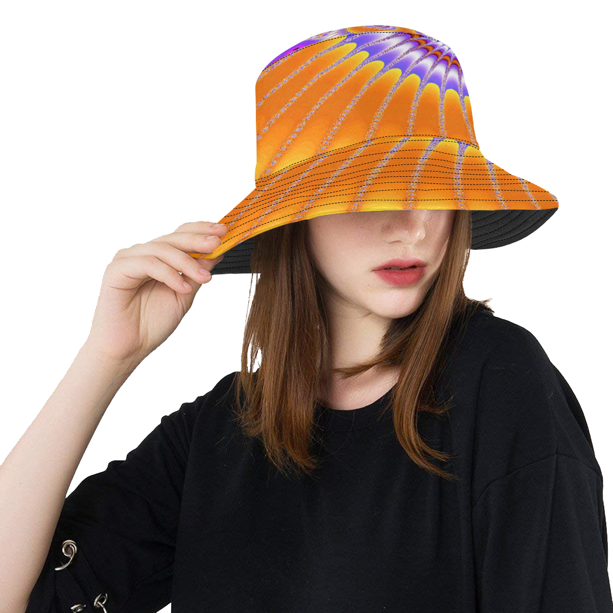 Purple and Orange Sunflower All Over Print Bucket Hat
