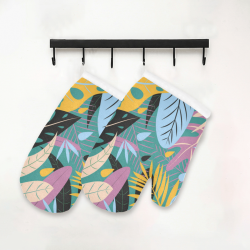 Fancy Colorful Tropical Floral Oven Mitt (Two Pieces)
