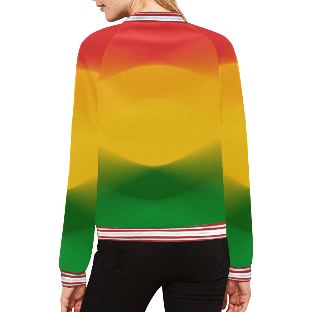 Rasta Color Harmony All Over Print Bomber Jacket for Women (Model H21)