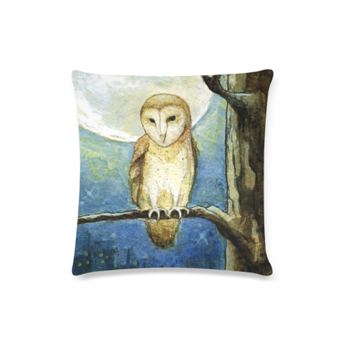 "Owl Moon Custom Zippered Pillow Case 16""x16""(Twin Sides)"