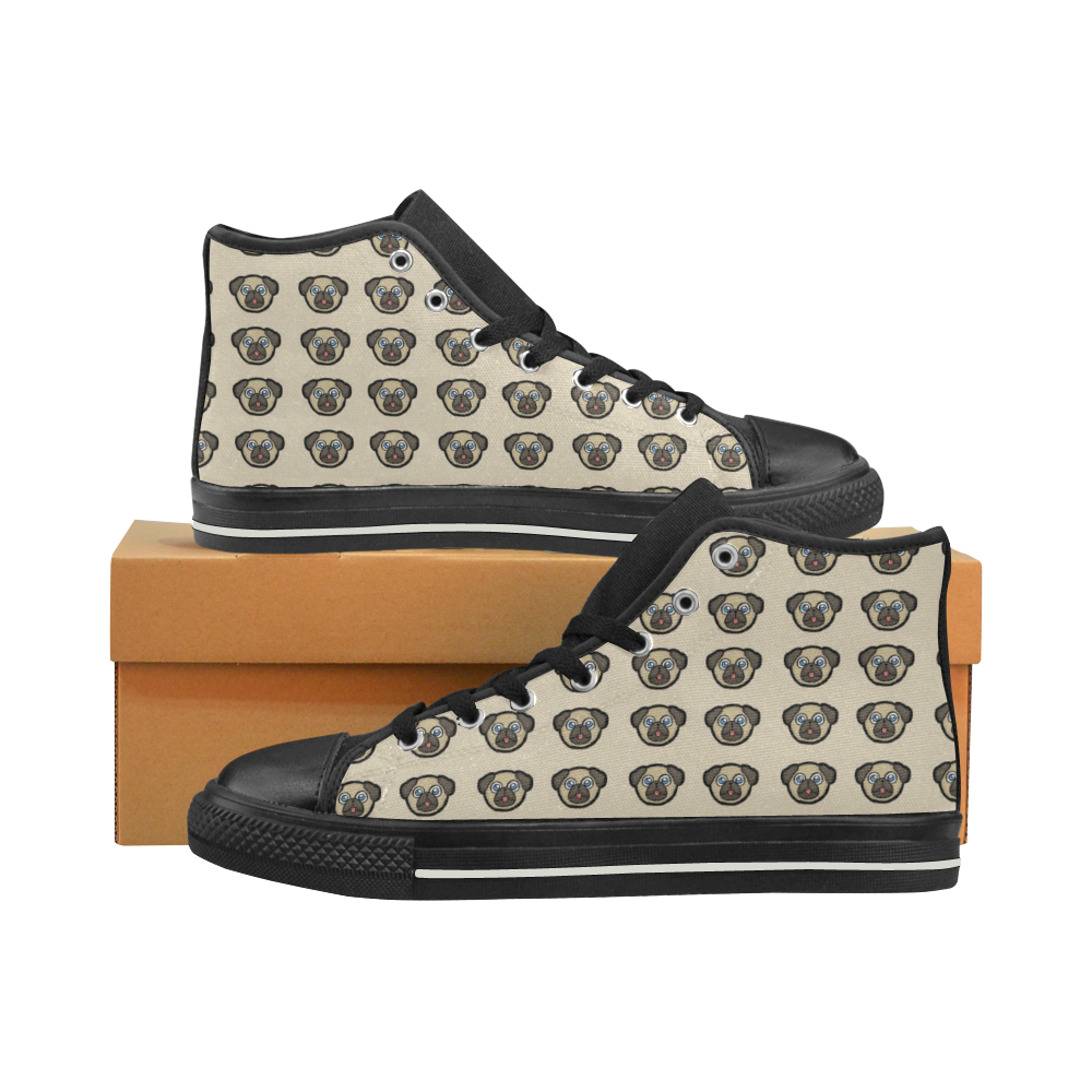 Pug Love High Top Canvas Shoes for Kid (Model 017)